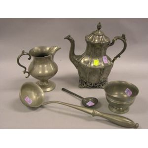 Pewter Ladle, Spoon, Footed Bowl, Coffeepot, and Jug.