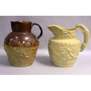 Two English Stoneware Pitchers.