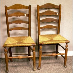 Pair of English Provincial Slat-back Side Chairs with Woven Rush Seats.