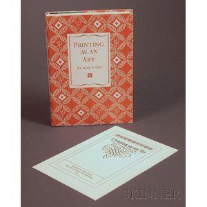 Nash, Ray (1905-1982) Printing as an Art