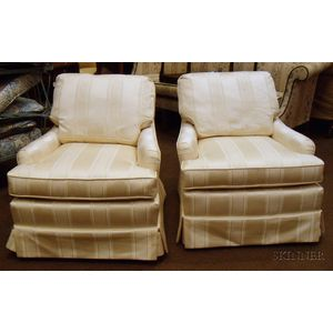 Pair of Ivory Upholstered Club Chairs.