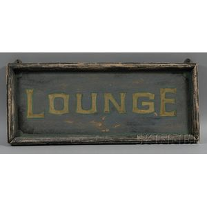 """Painted Wood """"LOUNGE"""" Sign"""