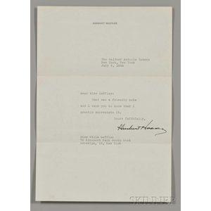 Hoover, Herbert (1874-1964) Typed Letter Signed, New York, 5 July 1946.