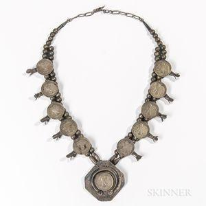 Navajo Half Dollar Squash Blossom Necklace