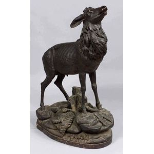 Fine Large Carved Walnut Black Forest Figure of a Stag