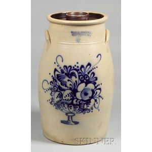 Cobalt Decorated Six-Gallon Stoneware Churn with Cover
