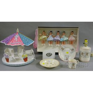 Dionne Quintuplets Lamp, and Madame Alexander Dionne Doll and Carousel Set