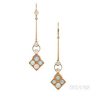 14kt Gold and Opal Earrings