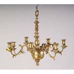Diminutive Continental Brass Seven-light Baroque-style Chandelier
