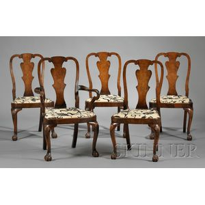 Set of Five Queen Anne-style Walnut Dining Chairs