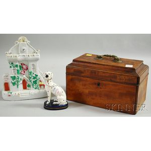 Mahogany Casket-form Tea Caddy, a Staffordshire Cottage Figure, and Seated Spaniel   Figure