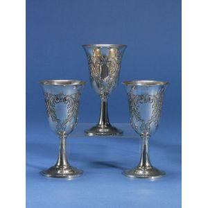 Set of Twelve Sterling Silver Goblets