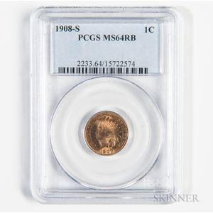 1908-S Indian Head Cent, PCGS MS64RB.     Estimate $500-700