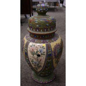 Large Japanese Satsuma Enamel Decorated Ceramic Covered Urn.