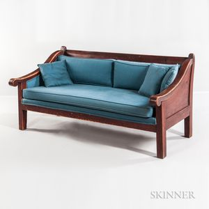 Red-stained Maple Country Sofa with Blue Upholstery