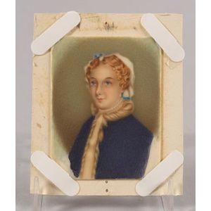 American School, 19th Century    Portrait Miniature of Juliet Ann (Opie) Hopkins.