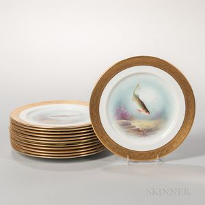 Twelve Aynsley China Hand-painted Fish Plates