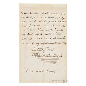 Dickens, Charles (1812-1870) Autograph Letter Signed, 26 March 1844.