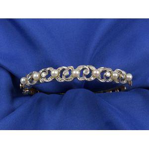 14kt Gold, Pearl, and Diamond Bangle Bracelet