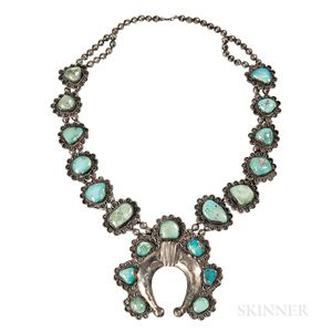 Navajo Silver Necklace with Turquoise Settings
