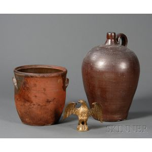 Redware Jar, Stoneware Jug, and a Cast Gilt-brass Eagle