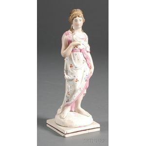 Neale-type Earthenware Figure of a Classical Woman with a Dove