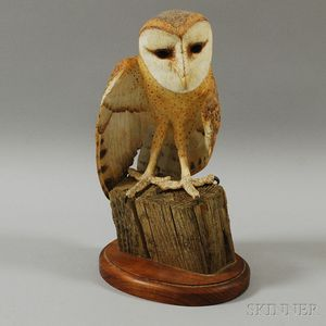 Carved and Painted Basswood Barn Owl