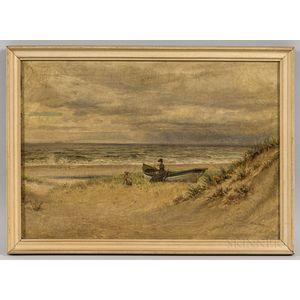 Edward Lamson Henry (New York/South Carolina, 1841-1919)      Shore Scene with Woman and a Rowboat