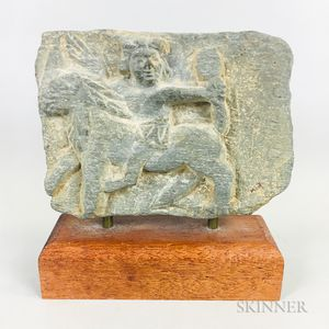 Stone Fragment of a Horse and Rider