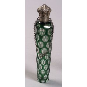 Green Cased Optically Cut-to-Clear Glass and Engraved Silver Lidded Perfume Flask