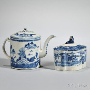 Export Porcelain Teapot and Tea Caddy