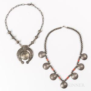 Two Navajo Silver Coin Necklaces