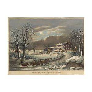 Nathaniel Currier, publisher (American, 1813-1888)  AMERICAN WINTER SCENES.  Evening