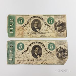Two 1862 $5 Virginia Treasury Notes.     Estimate $40-60