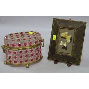 Framed Pietra Dura Butterfly Plaque and a Lidded Cut Glass Box.