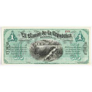 1880s Colombian El Banco De La Republica 1 Peso, Pick S807