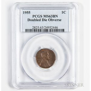 1955 Doubled Die Obverse Lincoln Cent, PCGS MS63BN.     Estimate $1,500-2,000