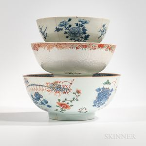 Three Export Porcelain Punch Bowls