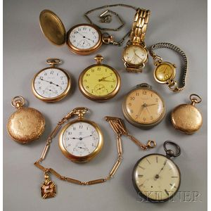 Large Group of Pocket and Wristwatches