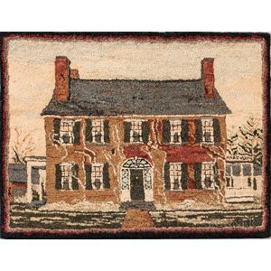 Hooked Rug with a Two-story House with an Albumen Photograph of the House