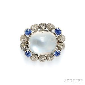 Arts & Crafts Moonstone and Sapphire Brooch, Tiffany & Co.