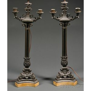 Pair of Italianate Bronze Candelabra