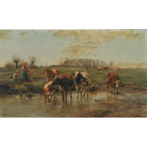 Karl Stuhlmuller (German, 1858-1930)      Landscape with Peasant Family and Cattle Watering