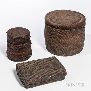 Three Congo Lidded Baskets