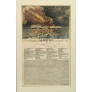 Nathaniel Currier, publisher (American, 1813-1888) Awful Conflagration of the Steamboat LEXINGTON In Long Island Sound on Monday Eveg