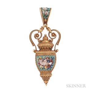 Fine Archeological Revival Gold and Micromosaic Pendant