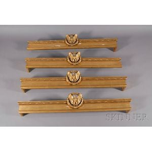 Four Giltwood Window Valances with Carved Eagle and Wreath Motif
