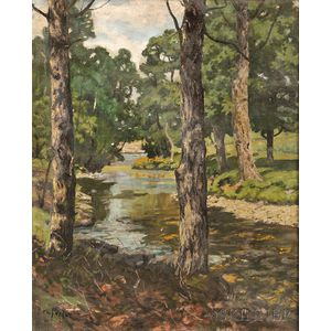 Ben Foster (American, 1852-1926)      Trees Along the Banks of a Stream