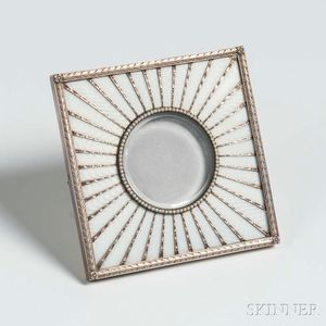 Russian .916 Silver and Guilloché Enamel Frame