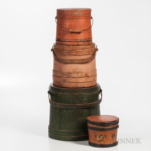 Four Painted Covered Pails